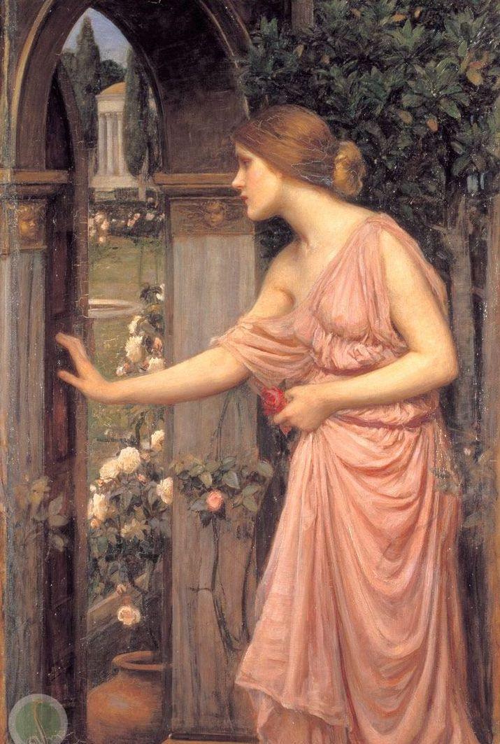 Psique abrindo a porta do jardim de Cupido - Willian Waterhouse